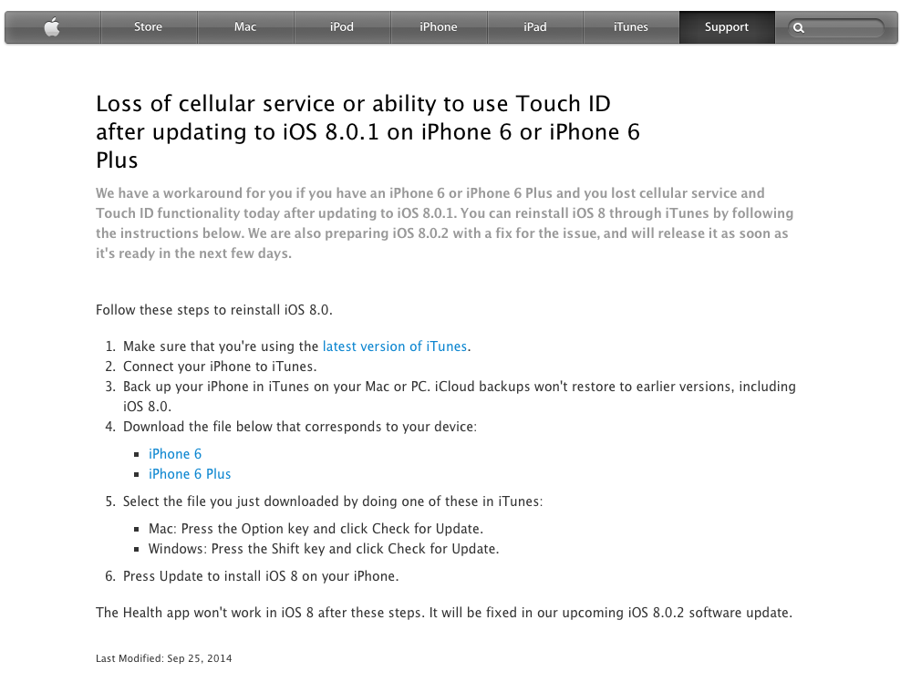 iOS 8 restore workaround from Apple